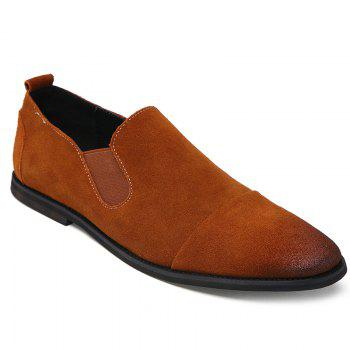 Simple Elastic and Suede Design Men's Casual Shoes - BROWN 39