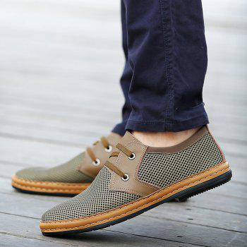 Trendy Solid Color and Breathable Design Men's Casual Shoes - KHAKI 39