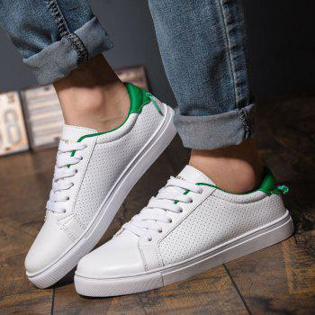 Trendy Colour Matching and Lace-Up Design Men's Casual Shoes - WHITE/GREEN 43