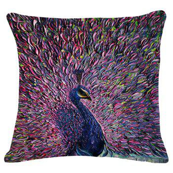 Chic Peacock Oil Painting Pattern Square Shape Flax Pillowcase (Without Pillow Inner)