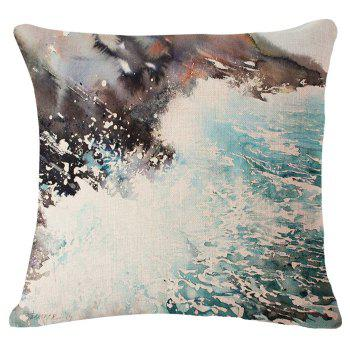 Chic Sea Wave Oil Painting Pattern Square Shape Flax Pillowcase (Without Pillow Inner)