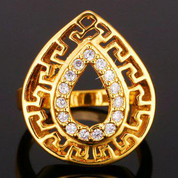 Rhinestoned Water Drop Ring - GOLDEN ONE-SIZE