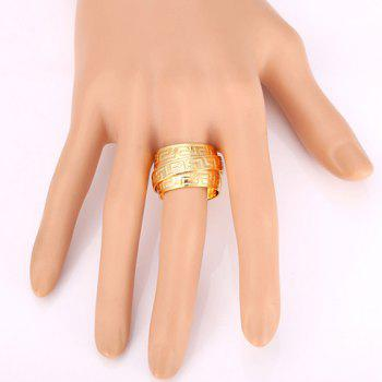 Fret Stainless Steel Cuff Ring - GOLDEN ONE-SIZE