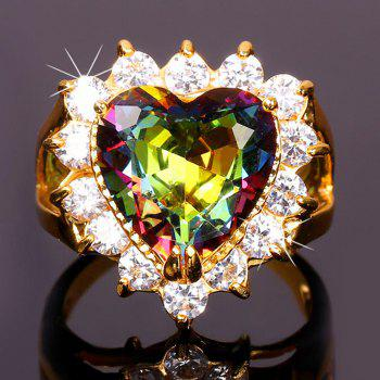 Colored Rhinestone Heart Shape Ring