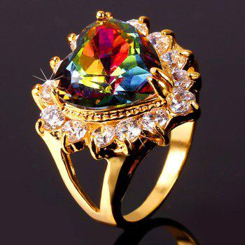 Colored Rhinestone Heart Shape Ring - GOLDEN ONE-SIZE