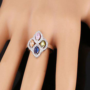 Rhinestone Artificial Crystal Ring - SILVER ONE-SIZE