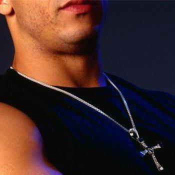 Charming Stainless Steel Rhinestone Cross Necklace For Men - WHITE