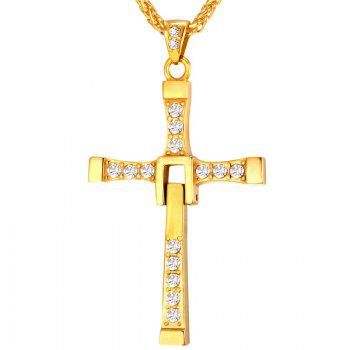 Charming Stainless Steel Rhinestone Cross Necklace For Men