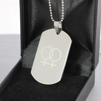 Female Signs Titanium Steel Round Rectangle Pendant Necklace - SILVER