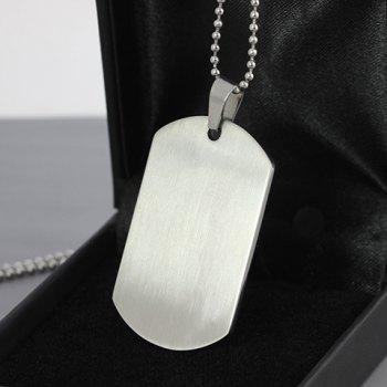 Round Rectangle Homme Signs Collier Simple pendentif pour hommes - Argent