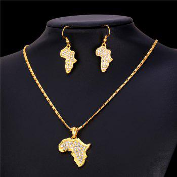 Rhinestone African Plate Shape Pendant Necklace and Earrings