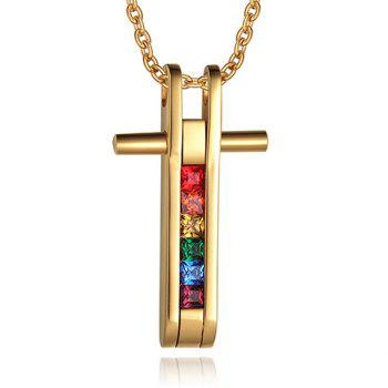 Faux Crystal Alloy Cross Pendant Necklace
