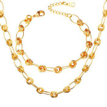 A Suit of Charming Rhinestoned Circle Necklace and Bracelet For Women