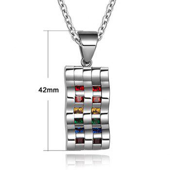 Punk Faux Crystal Wave Alloy Hollow Out Pendant Necklace - SILVER