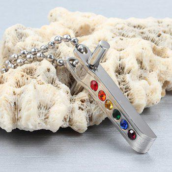 Unisex Cross Coloured Faux Crystal Pendant Necklace - SILVER