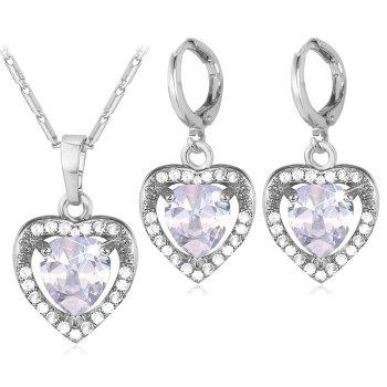 Faux Crystal Heart Jewelry Set
