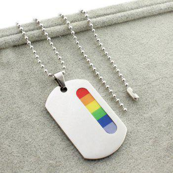 Rounded Rectangle Resin Pendant Necklace - SILVER