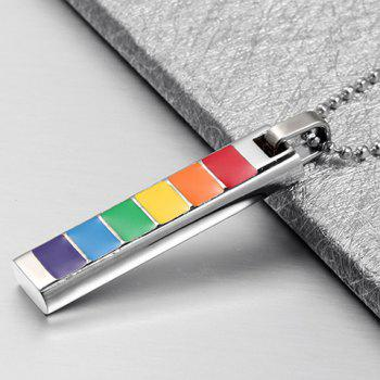 Alloy Resin Rectangle Pendant Necklace - SILVER