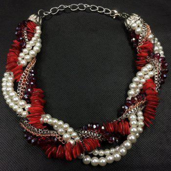 Faux Pearl Beads Multilayer Chain Interwind Necklace - RED