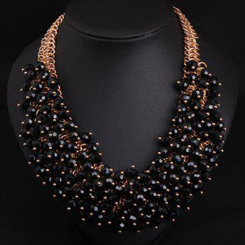 Faux Crystal Multilayer Beads Necklace
