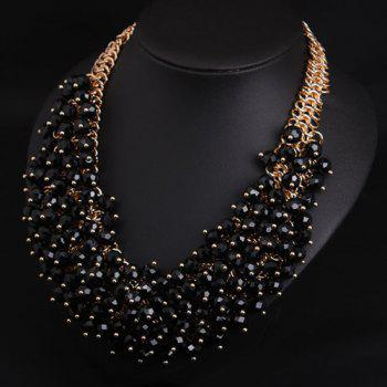 Faux Crystal Multilayer Beads Necklace - BLACK