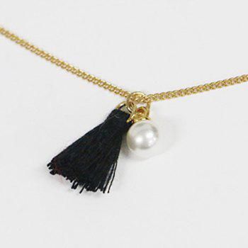 Small Tassel Faux Pearl Pendant Double Chokers Necklace - BLACK
