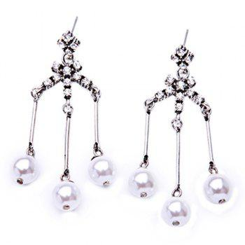 Pair of Elegant Rhinestoned Faux Pearl Bead Tassel Earrings For Women