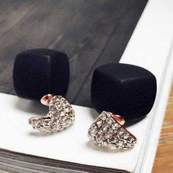 Pair of Rhinestone Heart Quadrate Reversible Earrings