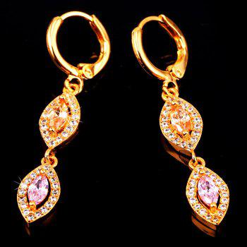 Pair of Rhinestoned Oval Artificial Crystal Earrings - GOLDEN