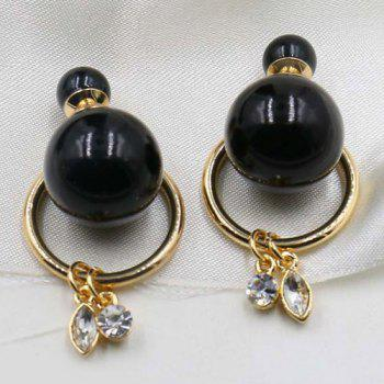 Pair of Faux Pearl Crystal Circle Earrings