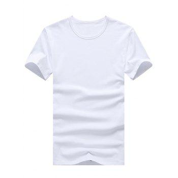 Buy Solid Color Round Neck Plus Size Short Sleeve Men's T-Shirt WHITE