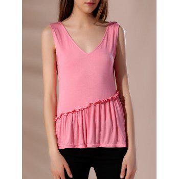 Trendy Pink Sleeveless V-Neck Tank Top For Women