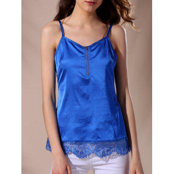 Casual Women's Strappy Lace Splicing Top