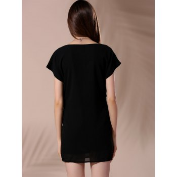 Trendy Scoop Neck Short Sleeve Tie-Side T-Shirt Dress For Women - BLACK L