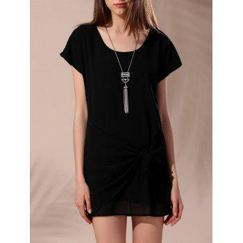 Trendy Scoop Neck Short Sleeve Tie-Side T-Shirt Dress For Women