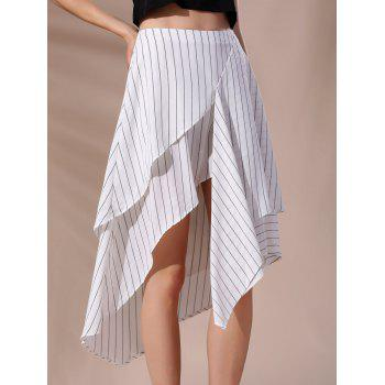Fashionable Women's High-Waisted Pinstriped Asymmetrical Skirt