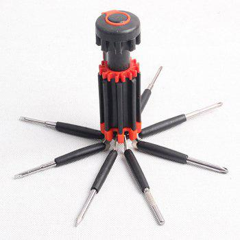 Portable Multifunctional 8 in 1 Screwdrivers Toolkit with 6 LEDs For Outdoor Activities - RED WITH BLACK RED/BLACK