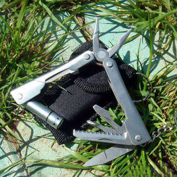 Fashionable Outdoor Mini Silver Multi-function Combination Pliers with LED Light -  SILVER