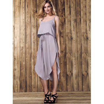 Trendy Spaghetti Strap Furcal Pure Color Asymmetrical Women's Dress - LIGHT GRAY M