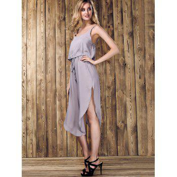 s 'Dress Trendy Spaghetti Strap Furcal Pure Color Asymétrique Femmes - Gris Clair M