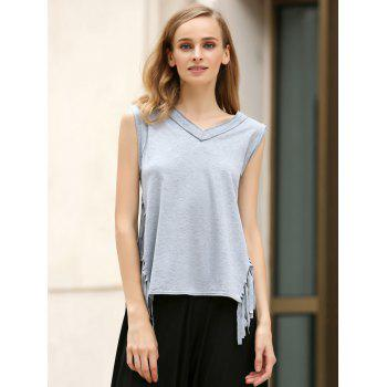 Trendy V-Neck Sleeveless Tassels Spliced T-Shirt For Women