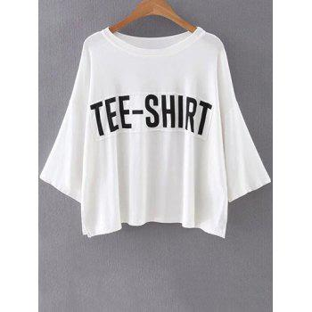 Casual Round Neck Batwing Sleeve Letter Patchwork T-Shirt For Women