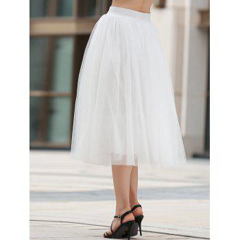 Stylish Solid Color Mesh A Line Women's Skirt