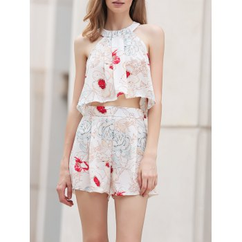 Stylish Floral Print Cropped Top and Shorts Twinset For Women