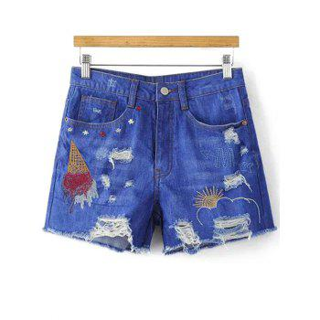 Casual Ripped Embroidery Denim Shorts For Women