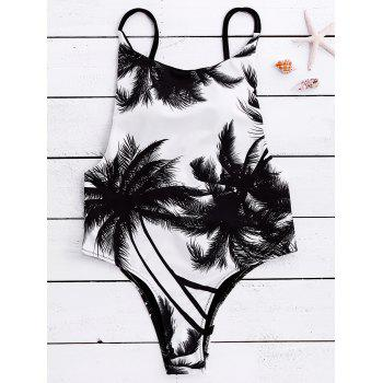 Backless Coconut Tree Print Swimwear