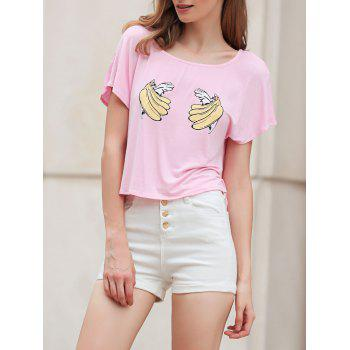 Casual Scoop Neck Short Sleeve Banana Print Cropped Women's T-Shirt