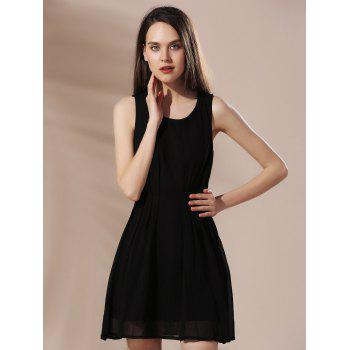 Mini Crochet Chiffon A Line Dress - BLACK L