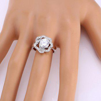 Rhinestone Floral Shape Ring - SILVER ONE-SIZE