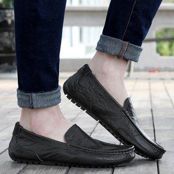 Simple Round Toe and Stitching Design Men's Loafers - BLACK 44
